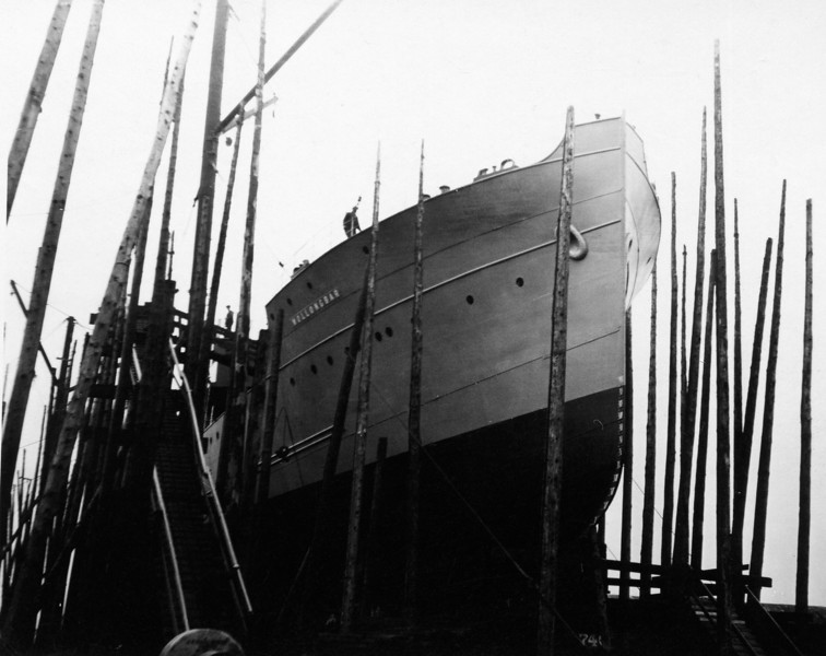 """ss WOLLONGBAR<br /> Yard No 746<br /> Triple expansion steam engines<br /> Launched: Monday, 28/08/1922 for North Coast Steam Navigation Company, Sydney NSW<br /> Career: <br /> <a href=""""http://www.clydesite.co.uk/clydebuilt/viewship.asp?id=18070"""">http://www.clydesite.co.uk/clydebuilt/viewship.asp?id=18070</a><br /> and<br /> <br /> <a href=""""http://www.australiansatwar.com.au/stories/stories.asp?war=W2&id=190"""">http://www.australiansatwar.com.au/stories/stories.asp?war=W2&id=190</a> <br /> Seen here from ahead on the building berth prior to launch"""