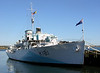 HMCS Sackville, Halifax, Nova Scotia, 3 October 2005.  Very few ships which took part in the Battle of the Atlantic survive.  Sackville is the only surviving Flower class corvette of 269 built to escort convoys across the Atlantic.  She was built in Saint John, New Brunswick, and commissioned into the Royal Canadian Navy in December 1941.  She was credited with probably sinking one U-boat, and probably damaging another.  After the war she was used as a survey and research ship before entering preservation in 1983.  She has been restored to her upgraded 1944 condition, and is now the Canadian naval memorial.