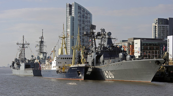 ORP General Tadeusz Kosciuszko (Poland, left), HMCS Iroqois (Canada), THV Patricia (Britain) & RFS Vice Admiral Kulakov (Russia), Cruise Terminal, Liverpool, Sun 26 May 2013.  Here are four of the ships which visited Liverpool for the 70th anniversay of Allied victory in the Battle of the Atlantic during World War 2.  In May 1943, the Germans had been forced to withdraw their U-boats from the Atlantic after suffering unsustainable losses.  The battle was the longest campaign of World War 2.  It started the day after war broke out on 3 September 1939 when the liner Athenia was torpedoed without warning; it continued almost until the German surrender on 8 May 1945.  Some 2300 merchant ships were sunk, most by U-boats, with the loss of about 30,000 lives.  Many Royal Navy sailors and Royal Air Force airmen, and their Allies, also died, as did 20,000 U-boat crewmen.