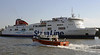 Stena Mersey & Gaillion, Birkenhead, Sun 26 May 2013.  The windfarm support boat passes the Birkenhead - Belfast ferry.