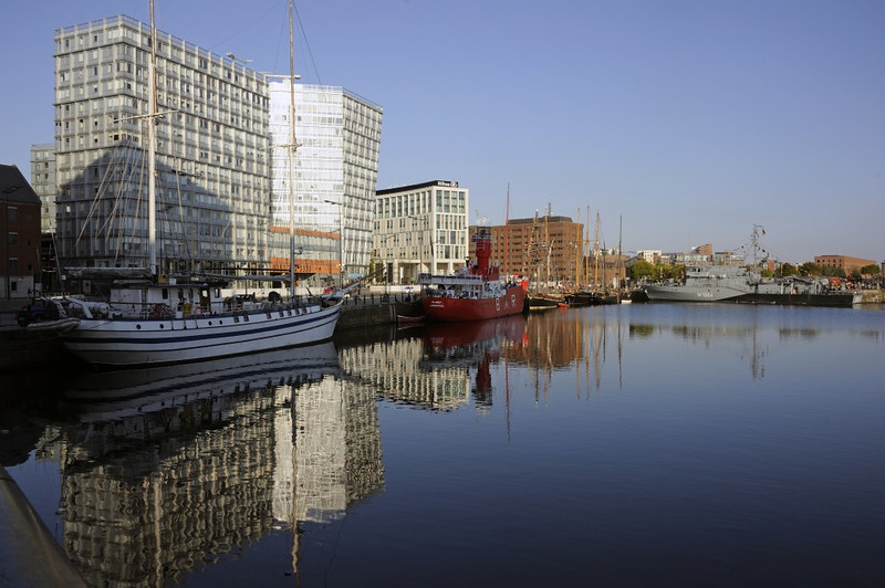 Canning Dock, Liverpool, Sun 26 May 2013.  The boats are Next Wave (left), lightship Planet, Zebu, Kathleen and May behind Keewaydin & German minehunter FGS Gromitz.