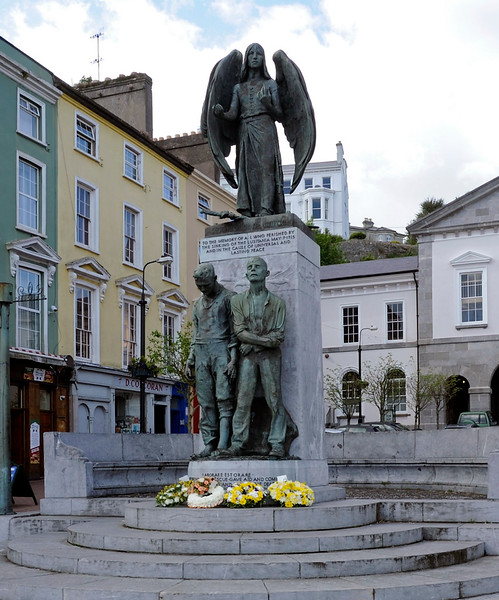 Lusitania memorial, Cobh, 11 May 2012.  Three years after Titanic foundered, Lusitania was sunk near Cobh in only 20 minutes by a German torpedo.  Over 1200 perished, but more than 700 were rescued by the people of Cobh and surrounding areas.  Some of the victims are buried in a cemetery outside Cobh.