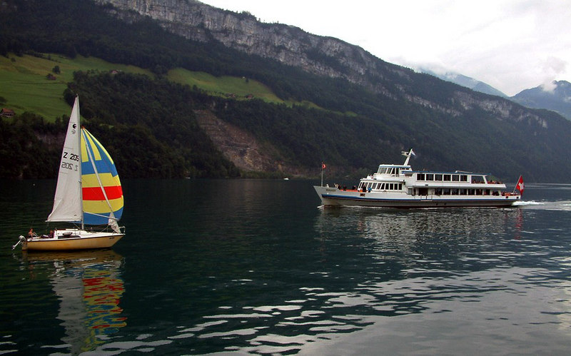 Yacht anf motor vessel Weggis from paddle steamer Gallia en route from Treib to Gersau