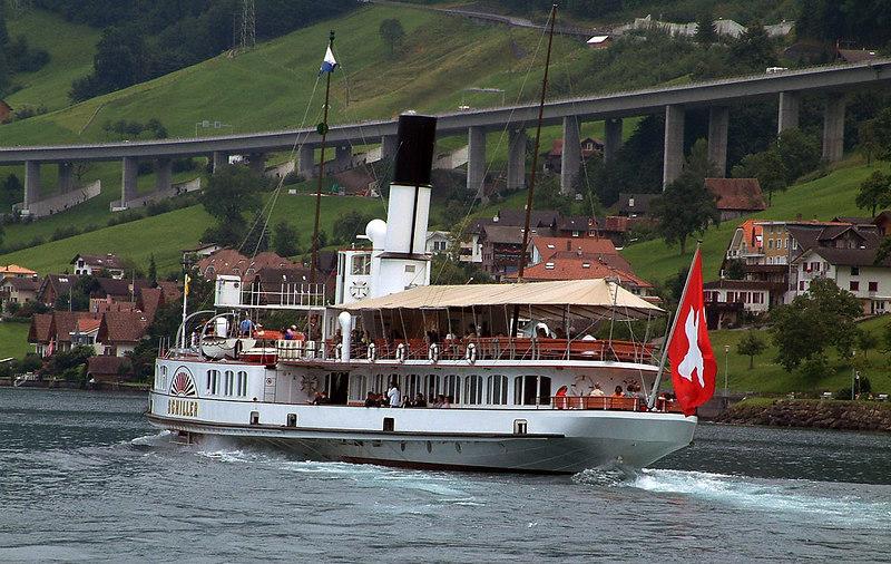 Paddle steamer Schiller leaving Beckenreid for Gersau