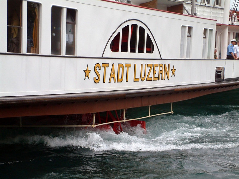 Paddle steamer Stadt Luzern approaching Gersau