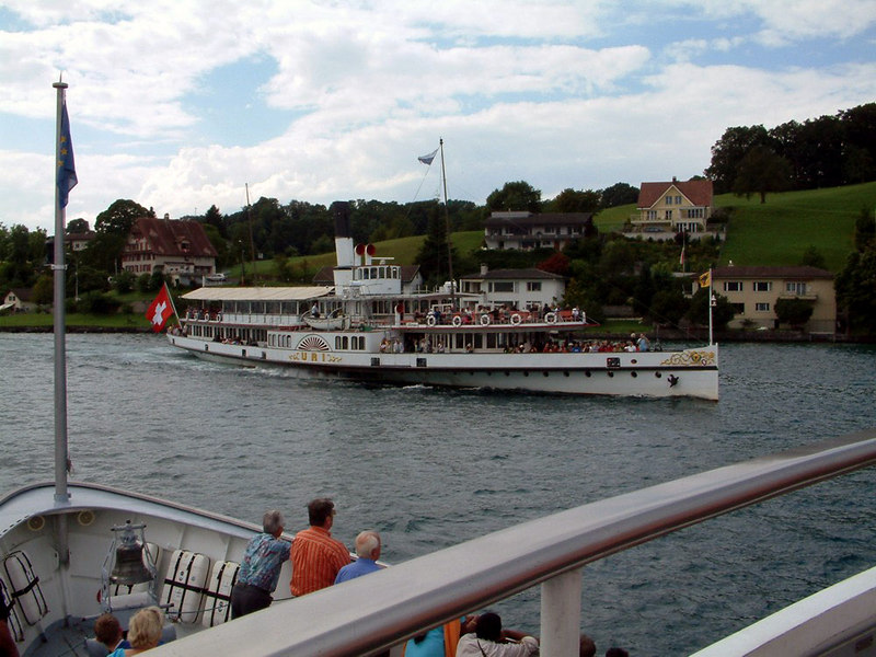 Paddle steamer Uri (from motor vessel Europa) departing from Hertenstein