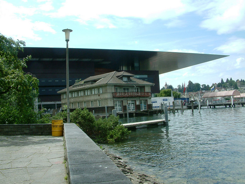New amd old - the new Luzern Congress Hall and Museum and the old Club Luz (latter subsequently demolished)