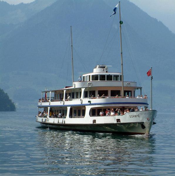 Motor vessel Schwyz approaching Vitznau
