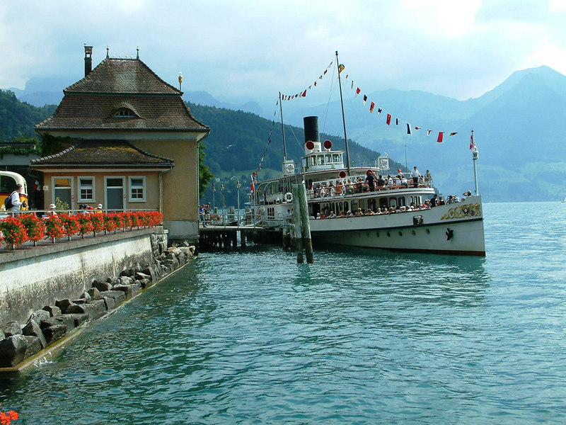 Paddle steamer Unterwalden at Vitznau