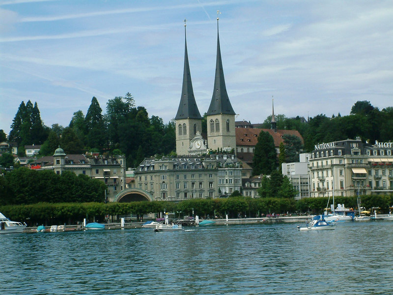 Twin spires of the Hofkirche, Luzern