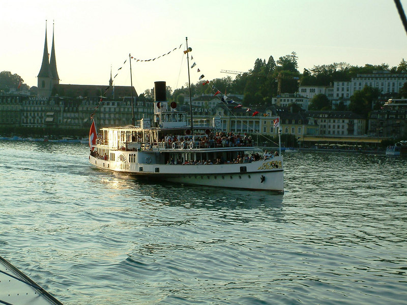 Swiss National Day Steamer Parade 2003 - paddle steamer Unterwalden joining the procession from Luzern