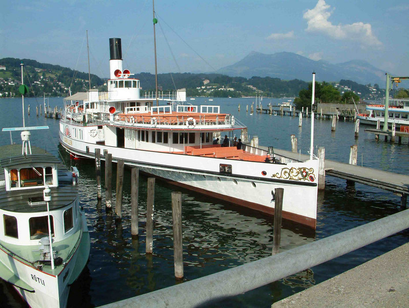 Paddle steamer Schiller and motor vessel Rutli at the SGV Shipyard, Luzern