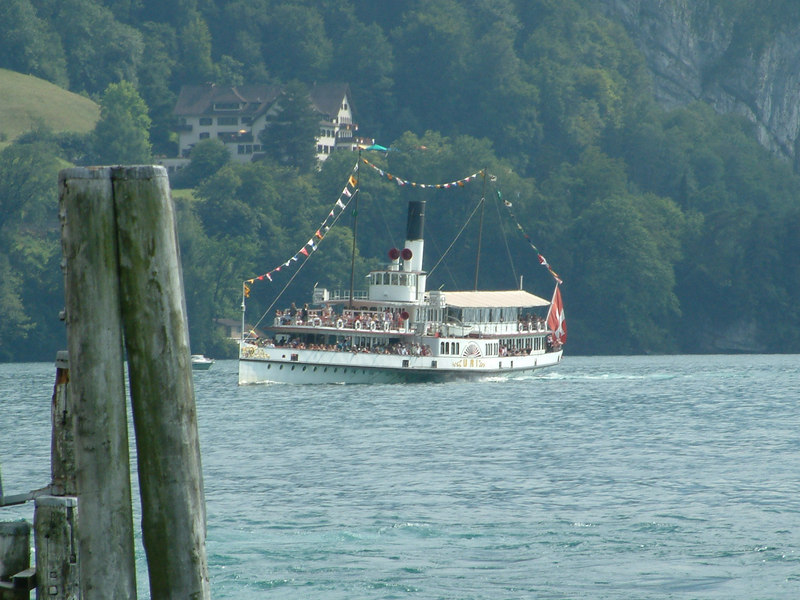 Paddle steamer Uri approaching Vitnau