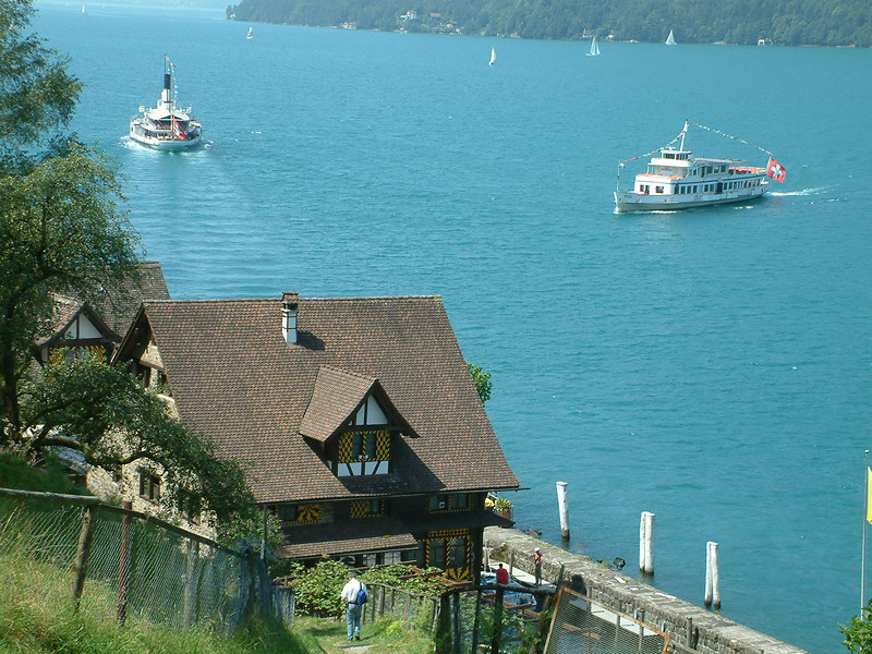 Paddle steamer Uri and motor vessel Rigi off Treib on the Vierwaldstattersee (Lake Lucerne)