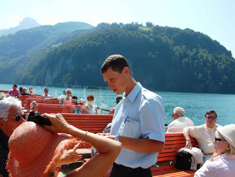 SGV purser aboard paddle steamer Schilller