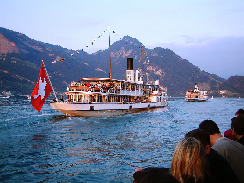 Swiss National Day Steamer Parade 2003 - paddle steamer Unterwalden following paddle steamer Stadt Luzern