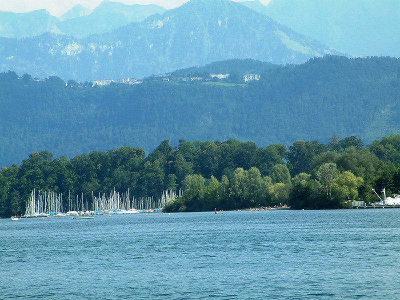 The Seepark, Luzern with the luxury hotels high up on the Burgenstock beyond