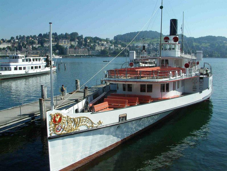 Motor vessel Pilatus and paddle steamer Gallia at SGV Shipyard, Luzern