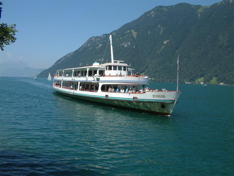 motor vessel Europa arriving at Treib