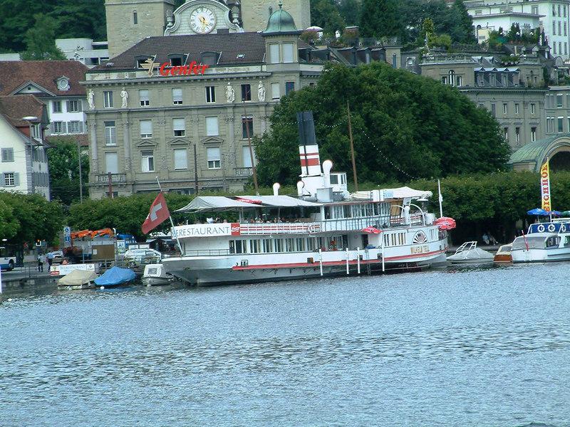 Paddle steamer Wilhelm Tell, a static restaurant / bar ship at Schweizerhofquai, Luzern