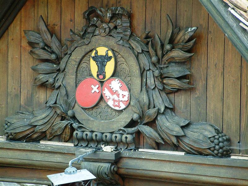 Rutli pier with the symbols of canton Uri (top), Schwyz (bottom left) and Unterwalden - the three original constituents of the Swiss Confederation