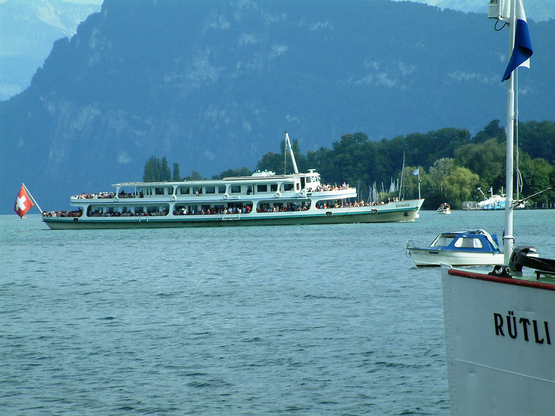 The recently rebuilt (after a fire) motor vessel Europa arriving back in Luzern