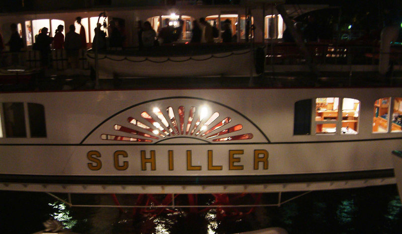 Paddle steamer Schiller's paddle box at night