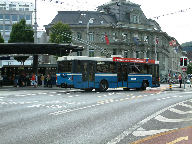 Trolley bus leaving Luzern bus station