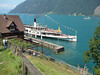 Paddle Steamer Unterwalden leaving Treib on the Vierwaldstattersee (Lake Lucerne)