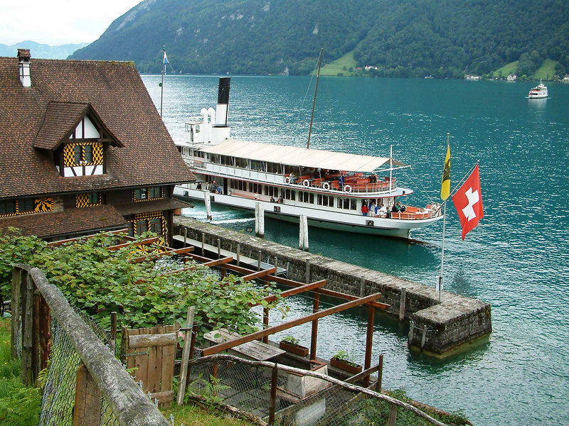 Paddle Steamer Uri at Treib on the Vierwaldstattersee