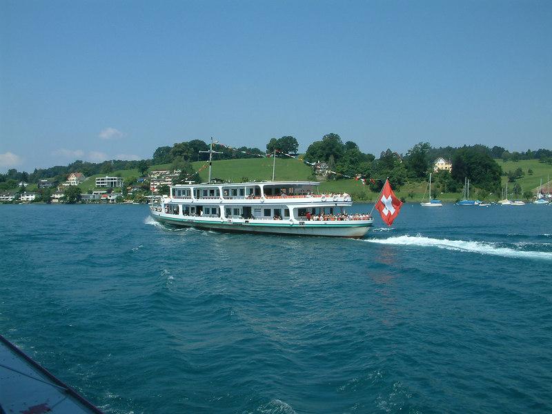 Motor vessel heading into Hertenstein