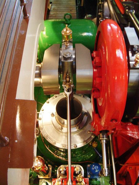 Looking down on the Air Pump of paddle steamer Uri's compound diagonal reciprocating steam engine