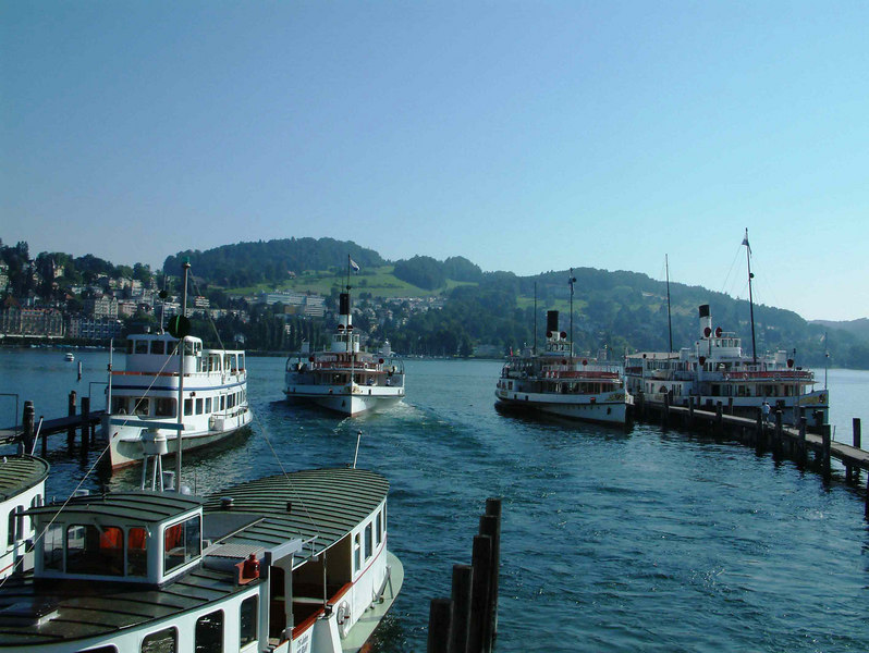 Motor vessels Rutli and Platus and paddle steamers Schiller, Unterwalden and Stadt Luzern at SGV Shipyard, Luzern