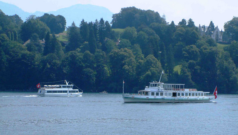 Motor vessels Spirit of Lucerne and Titlis passing off Hermitage