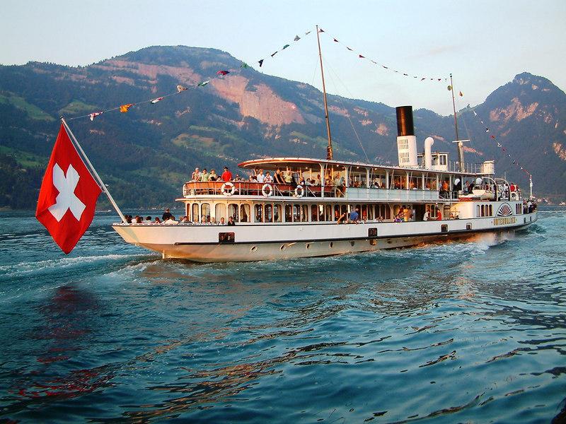 Swiss National Day Steamer Parade 2003 - paddle steamer Unterwalden