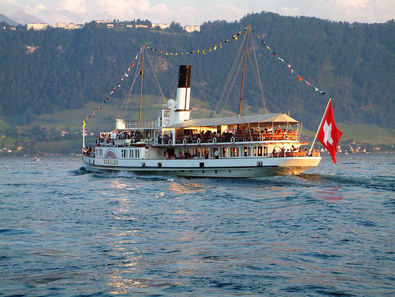 Paddle steamer Schiller beneath the Burgenstock