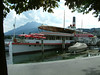 Paddle steamer Wilhelm Tell, a static restaurant / bar ship at Schweizerhofquai, Luzern<br /> Mount Pilatus in the background