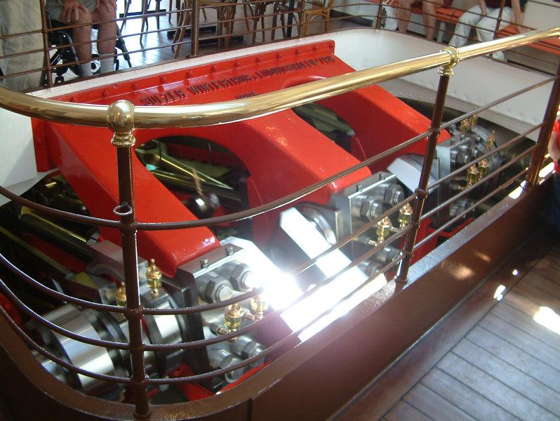 Compound steam engine of paddle steamer Schiller