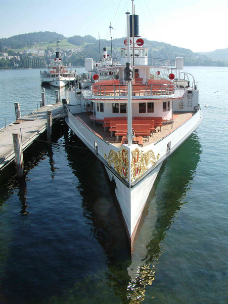 Paddle steamer Gallia at SGV Shipyard, Luzern (Unterwalden and Stadt Luzern behind)