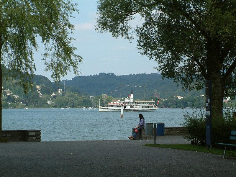 Paddle steamer Uri passing Inseli, Luzern