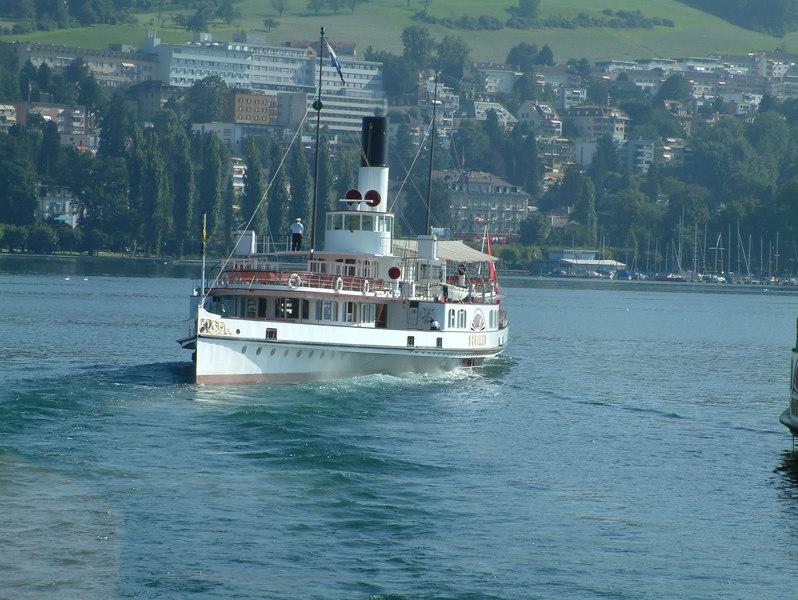 Paddle steamer Schiller leaving SGV Shipyard, Luzern
