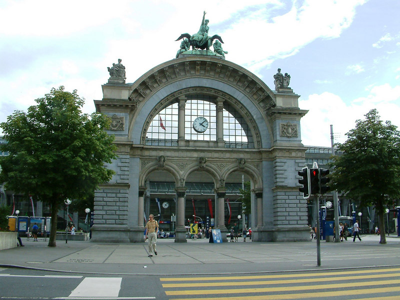 Arch doorway of the former Luzern Railway Station which was destroyed by a fire in 1972.