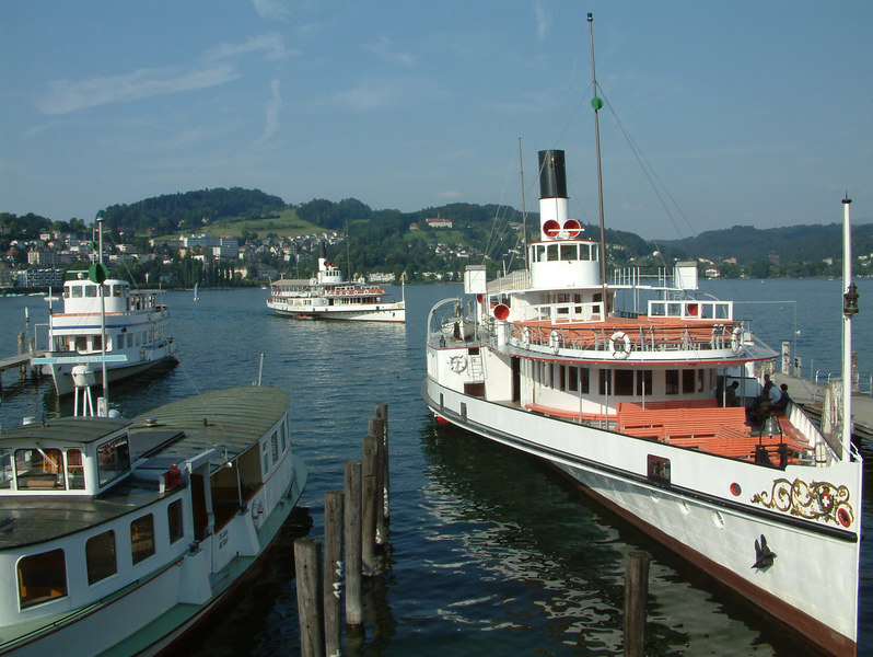 Paddle steamers Schiller and Uri and motor vessels Rutli and Pilatus at the SGV Shipyard, Luzern