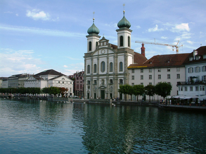 Luzern - the Jesuit Church by the River Reuss