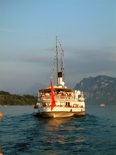 Swiss National Day Steamer Parade 2003 - paddle steamer Stadt Luzern leading the procession