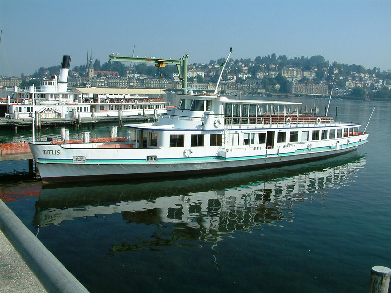Motor vessel Titlis and paddle steamer Schiller at SGV Shipyard, Luzern