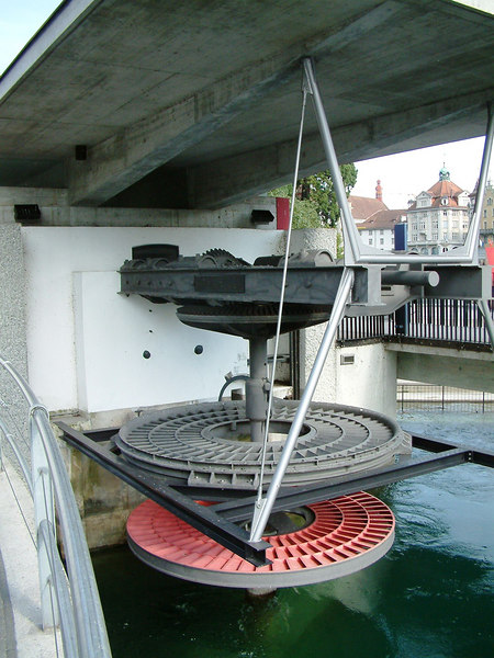 Water wheel at the Spruerbrucke, Luzern