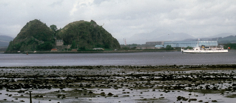 Southsea passing the former Denny's shipyard at Dumbarton where she had been built 39 years earlier. Also in the view are Dumbarton Rock and Ben Lomond, the latter in the mist in the distance.