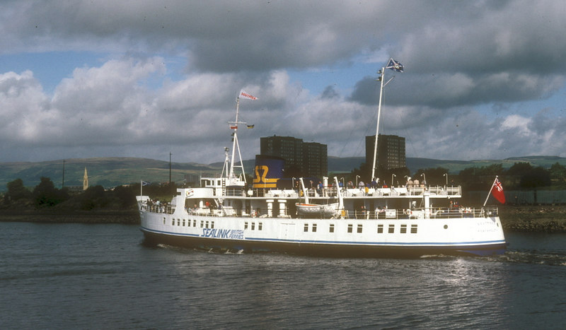Southsea passing Renfrew with her WSN houseflag and specially prepared name pennant showing to good effect.