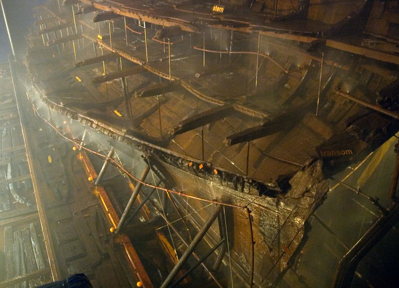 Mary Rose, Portsmouth, 6 March 2007 3.  NB the transom at right.